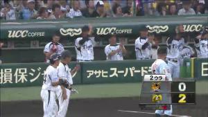 2ウラ梅野と阪神ベンチ