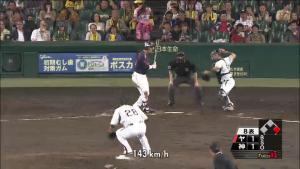 阪神藤井 盗塁刺殺