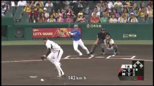 梶谷の打球がメッセンジャーを強襲