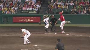 CS2戦目 盗塁を刺す藤井捕手